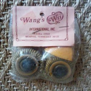 Vintage Macrame Ceramic Owl Eyes & Beak NOS
